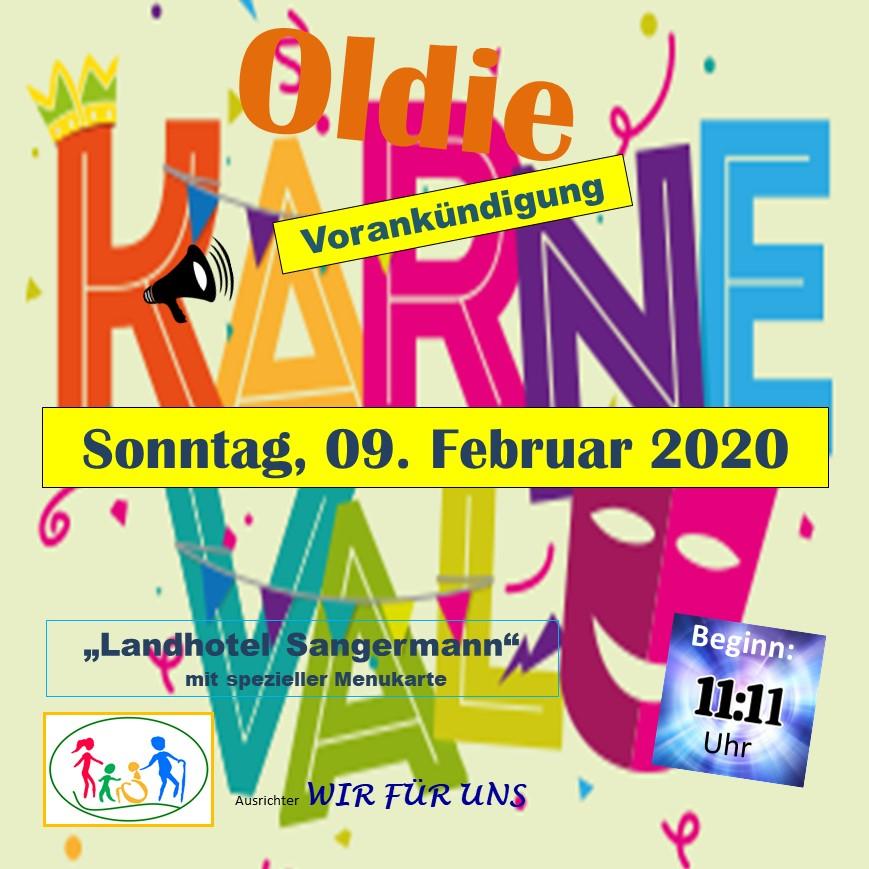 Oldie-Karnevalsparty am 09.02.2020